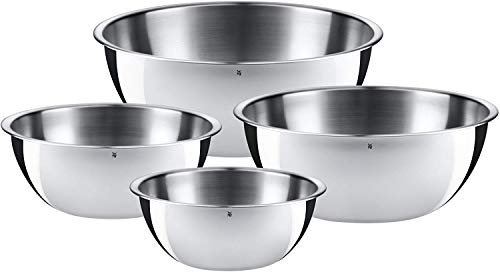 WMF Gourmet Schüsselset, 4-teilig, Schüsseln für die Küche, Cromargan Edelstahl poliert, 0,75 l - 2,75 l, Multifunktional als Rührschüssel, Salatschüssel, Servierschüssel, stapelbar