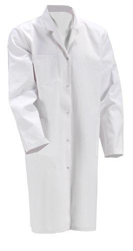 Laborkittel Damen Herren Kittel Medizin weiß Baumwolle Druckknöpfe (Herren 46)