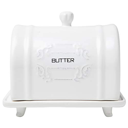 Butterdose aus Keramik mit Deckel im französischen Design - Vintage Keramik - Butterdose - dekorative Butterdose mit Prägung - französischer Landhausstil - Praktische Butterdose in Weiß