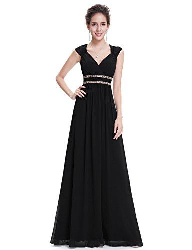Ever Pretty Damen Elegant V-Ausschnitt Ärmellos Lang Abendkleid 40 Größe Schwarz EP08697BK08