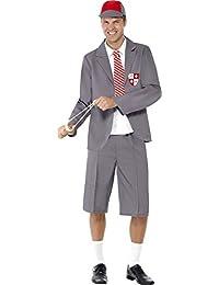 Smiffys, Damen Schulmädchen Kostüm, Kleid mit angesetztem Hemd, Schlips und Strohhut, Größe: M, 31105