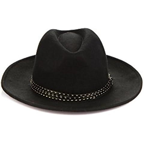 Unisex de Fedora sombrero de vaquero de ala ancha de lana Bowler sombrero de ala ancha con banda de cuero de moda