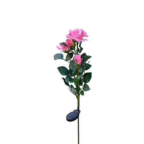 Naturgetreue Rose Blumen-Form Solarbetriebene Lampe Land Stake Lichter Led-Blumen-Lichter Für Garten Patio Hinterhof Dekorieren 1pc