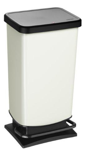 Rotho Paso Mülleimer 40 l  mit geruchdichtem Deckel, Kunststoff (PP), weiss metallic, 40 Liter (35,3 x 29,5 x 67,6 cm) - Weiß Mülleimer Mit Deckel