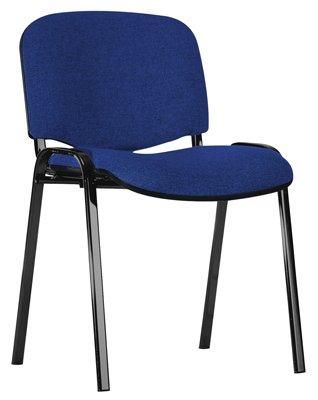 Preisvergleich Produktbild Stapelstuhl, Ovalrohrgestell schwarz, Sitz-/Rücken polster blau, Rückenabdeckung Kunststoff schwarz,