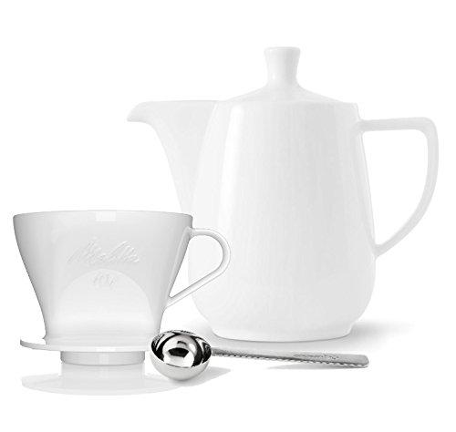 Friesland Melitta Kaffeefilter 101 1 Loch Porzellan weiss + Kaffeekanne 0,6 L Weiss + Kaffeemaßlöffel