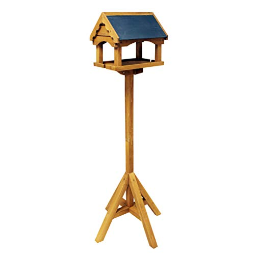 Natures Market Wooden Bird Table with Slate Effect Roof Made with FSC Certified Wood