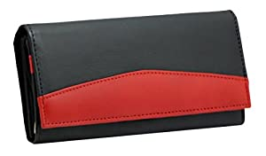 Ladies Luxury Soft Black Red Real Napa Leather Long Flap-over Purse Multi Credit Card Wallet with 2 Inner Zip pocket # 370