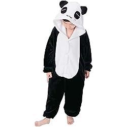 Pijama Kigurumi Niño Niña Animal Cuerpo Entero Cosplay Pyjamas Ropa de Dormir con Capucha Unisex Halloween Navidad Carnaval Traje de Disfraz, Panda
