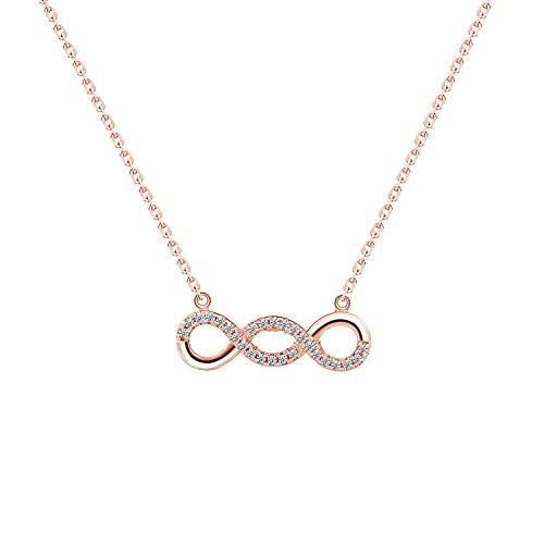 Bo&Pao Infinity Kette Damen Halskette mit Unendlichkeitszeichen Anhänger aus 925 Sterling Silber, 45 cm Silber Kette