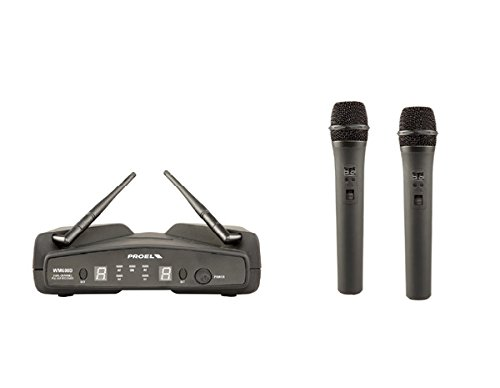 Proel WM600DM - Set 2 Microfoni Wireless UHF Dual Channel,  Valigetta da Karaoke inclusa