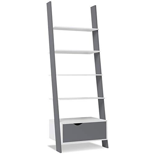 IDMarket - Étagère échelle scandinave bois blanc et gris