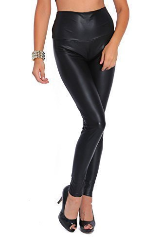 Lycra Spandex Leggings (futuro fashion sexy Matt lange Leggings Hohe Taille Latex Kunstleder - schwarz matt, 42)