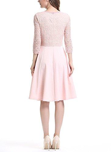 U8Vision Damen Elegant Spitzenkleid Knielanges Vintage 50er Jahr Abendkleid Hochzeit Brautjungfer Kleider Gr.S-XXXXL Pink