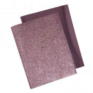 Rayher 53988258 Pellicola termoadesiva per tessuti, metallizzata glitter Rosa, 2 fogli, Dimensione 21,5 x 28cm, Trasferimento a caldo con ferro da stiro, Pellicola transfer per tessuti