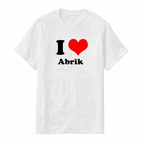 Novelty Tshirt I Love Abrik Tshirt for Men with Siser Vinyle Printing For Long-lasting Color By Art Innovation (White, XLarge)
