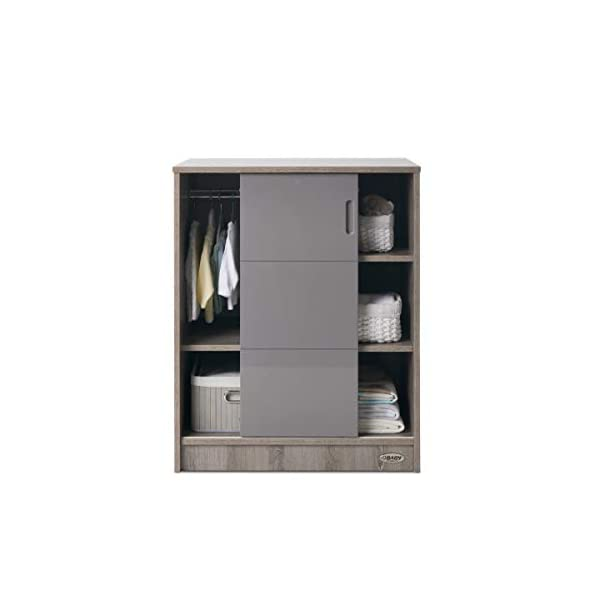 Obaby Madrid Storage Unit - Eclipse Obaby Left side offers the option of a hanging rail and shelf or three shelves Right side has 3 fixed shelves Option to add the removable changing top to turn into a changing unit 3