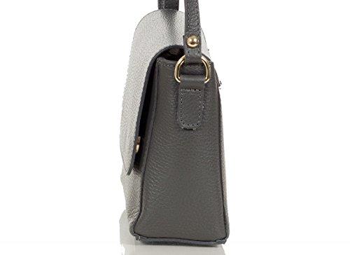 Smarte kleine Umhängetasche - Schultertasche made in Italy aus genarbem Leder - klein (19 x 17 x 8 cm), Farben:Grau (Dunkelgrau) Grau (Dunkelgrau)
