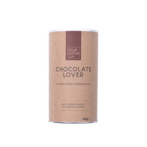 Your Superfoods Chocolate Lover Superfood - Bio Vegan Mix Mischung Trinkpulver aus Kakao, Carob, Kokos, Chia Samen und Lucuma, die gesunde Schokolade 200g - Superfood-mix