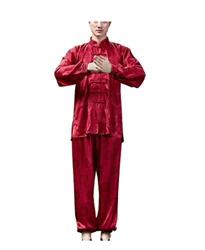 Herren Tang Anzug Kung Fu Shirt Stand Kragen nationalen Stil Hanfu Taiji beige rot