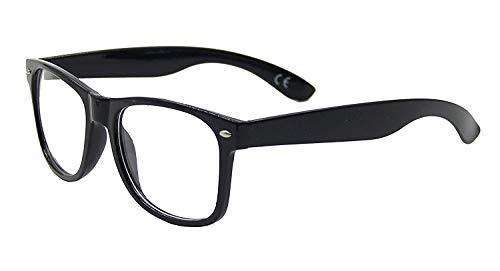 Unisex Retro-Geekbrille mit transparenten Gläsern bei vollem UV-Schutz, Rahmen Schwarz glänzend