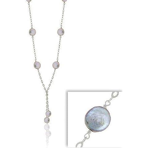 Sterling a forma di foglia-SilverThin Sterling con perle d'acqua dolce, colore grigio perla-Collana Lariat a forma di moneta