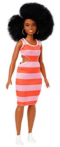 onistas Puppe im gestreiften Kleid mit braunen Haaren und Afro Frisur, Puppen Spielzeug ab 3 Jahren ()