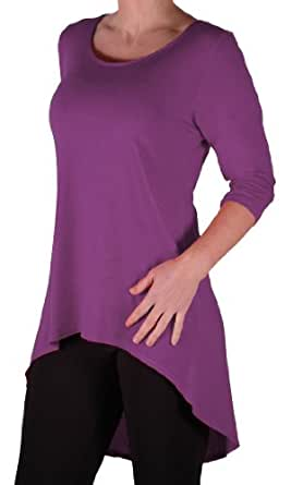 Eyecatch TM Oversize - Lexy Womens Dipped Fishtail Hem Longline Top With 3/4 Sleeves Plus Size Ladies Top Berry Size 14