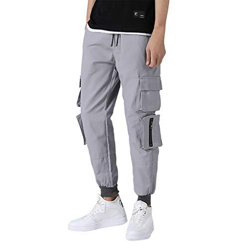 YU'TING - Pantaloni Uomo Lunghi Cargo con Coulisse Tasche Pantaloni Larghi da Harem Casuali Laterali Trousers della di Sport Pants Elastici Maschi