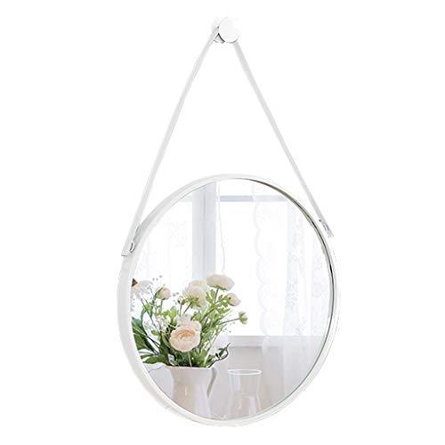 Runde Badezimmer wandbehang Spiegel mit hängenden Kette weiß metallrahmen Make-up eitelkeit rasieren Wohnzimmer Schlafzimmer kreative Flur modern (30 cm - 80 cm) -