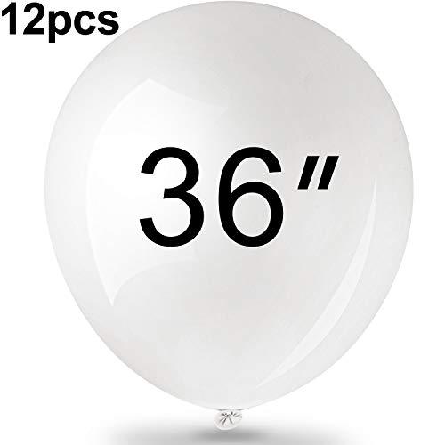Frienda 12 Packungen 36 Zoll Weiße Latexballons Großer Runder Ballon Riesige Ballons Große Latexballons für Geburtstag Hochzeitsfest Dekorationen
