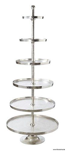 Moderne XL Etagere - Höhe 200cm / Durchmesser 80cm - Farbe: Silber - Material: Aluminium - 6-Stöckig - Sehr Große & Hochwertige Dekoetagere / Metalletagere / Silberetagere