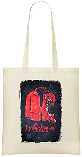 Un loup-garou américain à Londres - An American Werewolf In London Wild Scratching Custom Printed Grocery Tote Bag - 100% Soft Cotton - Eco-Friendly & Stylish Handbag For Everyday Use - Custom