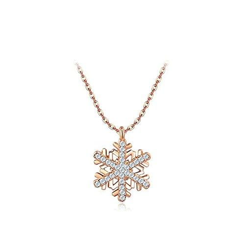 Bishilin Modeschmuck Edelstahl Damen Halskette mit Anhänger Schneeflocken AAAA Zirkonia Frauen Kette Rosegold Weihnachtsgeschenke