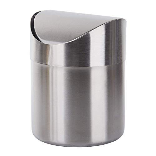 TWFRIC Mini Desktop Mülleimer, Trompete Kreativ Umweltfreundlich Edelstahl Metall mülleimer, mit Deckel Aufbewahrungsbox Tischabfalleimer fürs Haushalt Büro Küche Wohnzimmer saubere