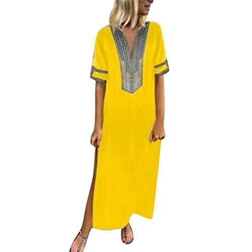 QIMANZI Damen GedrucktKurze Hülse V-Ausschnitt Maxikleid Hem Baggy Kaftan Langes Kleid(Gelb,2XL)