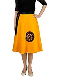 807034842872 DeeVineeTi Women's Poly Cotton Embroidered Wrap-Around Skirt (WA000131,  Yellow, Freesize)