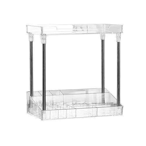 Cosmetic Collection Box quadratisches Lagerregal Organizer Tray Regal 2-Lagen Transparenter Acryl-Standhalter für Aufbewahrung von Gesichtsreinigungsmitteln, Augencremes, Lippenstiften, Nagellacken