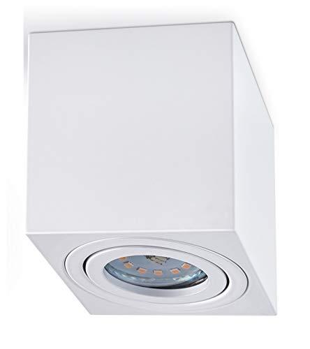Aufbaustrahler Aufbauleuchte PALERMO Aufputz Deckenlampe Deckenleuchte Strahler Downlight ohne Leuchtmittel (ECKIG WEIß)