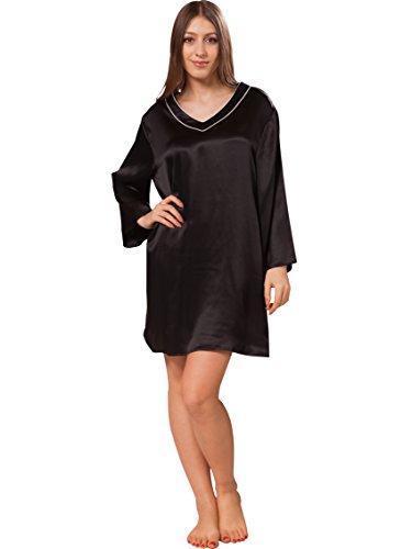 Ellesilk Kimono Inspiré soie chemises de nuit Noir/blanc