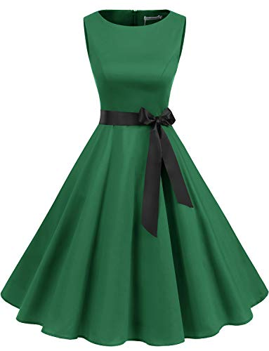 Gardenwed Robe Vintage Femme Années 40 50 60 Pin up Robe de Soirée Cocktail Cérémonie Style Audrey Hepburn Rockabilly Swing Col Rond sans Manche Green S