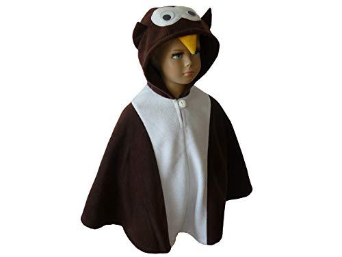 fasching karneval halloween kostüm cape für kleinkinder eule braun