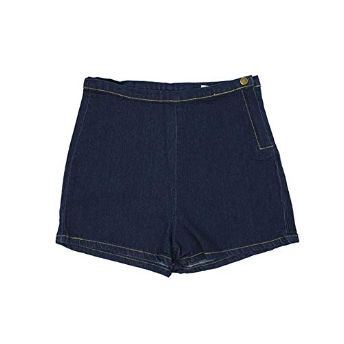 LKJH Shorts für FrauenDamen Jeans Mit Hoher Taille Denim Short Tight A Side Button, S -