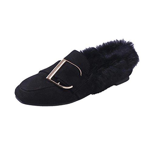 Femme Ballerines Faux Duvet Plat Mesdames Chaussures, QinMM Hiver Boucle Ceinture Chaud Appartements Doux Occasionnel Pois Noir