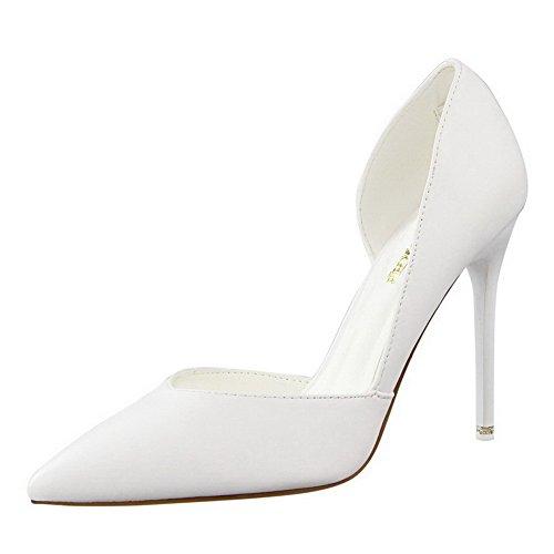 AalarDom Damen Stiletto Spitz Zehe Ziehen Auf Rein Pumps Schuhe Weiß-Naht