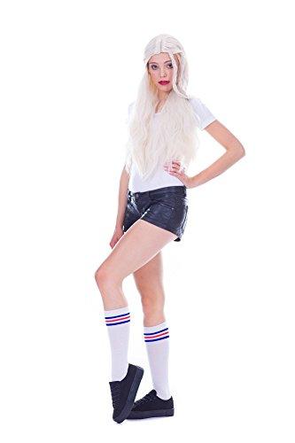 Amazinggirl Kniestrümpfe socks damen, extra lang, overknee mit Streifen kniestrümpfe mädchen, sport oder elegant, Winter. (Weiß mit Rot und Blau Streifen(Kurz))