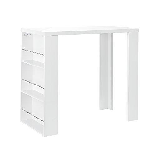 [en.casa] Bartheke / Bartisch / Bartresen + Hausbar mit 3 Fächern - weiß hochglanz - aus lackiertem MDF