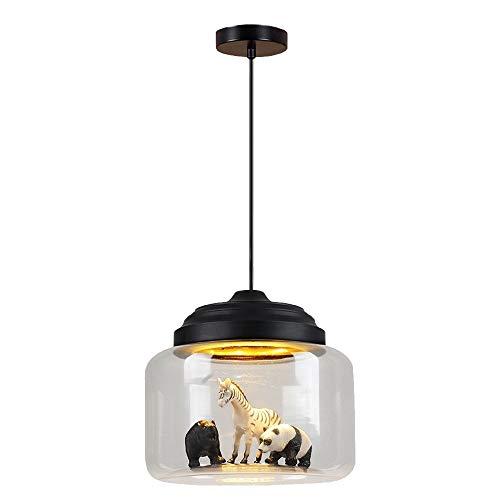 Pendentif en verre animal créatif noir, éclairage de bricolage décoratif en forme de bricolage, éclairage de lustre LED, luminaire suspendu pour plafond de chambre d'enfants, pour lampes de chambre po