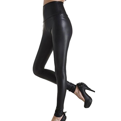 Rrimin High Waisted Women\'s Sexy Faux Leather Stretch Skinny Pants Slim Leggings