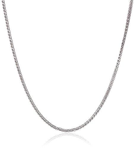 14 Karat / 585 Gold Diamantschliff Spiga Weizen Weißgold Kette - Breite 2 mm - Länge wählbar (60)